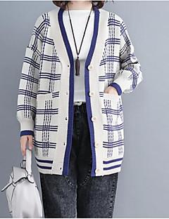 baratos Suéteres de Mulher-cardigan longa de algodão manga longa feminina - houndstooth