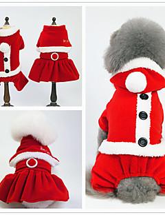 billiga Hundkläder-Hund / Katt Smoking Hundkläder Enfärgad Vit / Röd+Svart Pälsimitation / Duk / Flanelltyg Kostym För husdjur Unisex minimalist / Jul