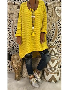 tanie Swetry damskie-Damskie Moda miejska Pulower - Ponadgabarytowych, Solidne kolory Długi rękaw