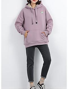 tanie Damskie bluzy z kapturem-damska luźna bluza z długimi rękawami - jednolity kolor z kapturem