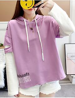 Χαμηλού Κόστους Women's Tops & Sets-γυναικεία βγαίνει μακρύ μανίκι λεπτή hoodie - γράμμα με κουκούλα