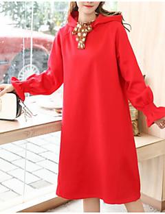 baratos Moletons com Capuz e Sem Capuz Femininos-hoodie longo do algodão da luva longa das mulheres - encapuçado colorido contínuo