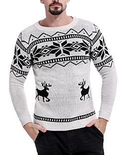 baratos Suéteres & Cardigans Masculinos-Homens Básico Pulôver - Estampa Colorida / Animal