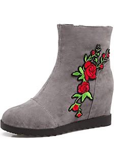 Χαμηλού Κόστους -Γυναικεία Μπότες Χιονιού Σουέτ Φθινόπωρο & Χειμώνας Μινιμαλισμός Μπότες Επίπεδο Τακούνι Στρογγυλή Μύτη Μπότες στη Μέση της Γάμπας Μαύρο / Γκρίζο / Σκούρο Κόκκινο