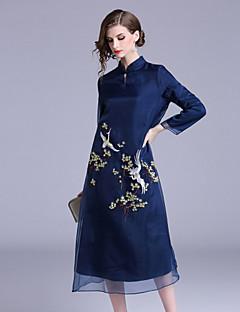 billige Kjoler til nyttårsaften-Dame Vintage / Chinoiserie Swing Kjole Broderi Midi