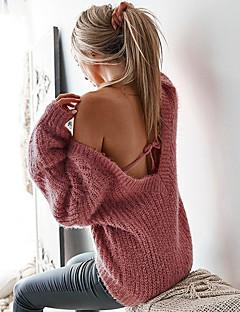 baratos Suéteres de Mulher-Mulheres Básico / Moda de Rua Pulôver - Sólido