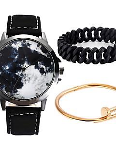 billige Par Ure-Par Armbåndsur Quartz Kronograf Sødt Kreativ Læder Bånd Analog Armring Mode Sort - Sort Blå Et år Batteri Levetid