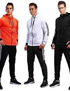 billiga Träning-, jogging- och yogakläder-Herr Snörning 2pcs Träningsoverall - Svart, Orange sporter Färgblock Elastan Byxa / Collegetröja Löpning, Fitness, Gym Långärmad Sportkläder Andningsfunktion, Håller värmen, Svettavvisande Elastisk
