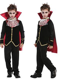 billige Barnekostymer-Vampyrer Cosplay Kostumer Maskerade Gutt Teenager Flere Uniformer Halloween Halloween Maskerade Festival / høytid 75g / m3 Polyester strik stretch Satin Drakter Svart Enkel