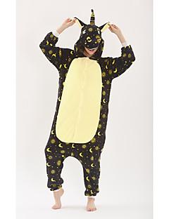 billige Kigurumi-Voksne Enhjørning Anime Onesie-pysjamas polyesterfiber Svart Cosplay Til Damer og Herrer Pysjamas med dyremotiv Tegnefilm Festival / høytid kostymer