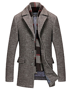 cheap England Retro Style-Men's Daily Fall & Winter Long Coat, Solid Colored Fantastic Beasts Shirt Collar Long Sleeve Cashmere Gray / Light Brown XXL / XXXL / 4XL