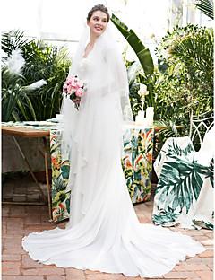 billiga Brudklänningar-A-linje Queen Anne Hovsläp Chiffong / Spets Bröllopsklänningar tillverkade med Spets av LAN TING Express