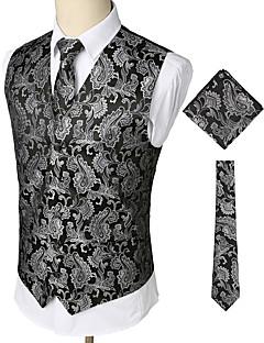ieftine Blazer & Costume de Bărbați-Bărbați Petrecere / Muncă / Club Afacere / Vintage Primăvară / Toamnă / Iarnă Regular Γιλέκο, Imprimeu Paisley În V Fără manșon Bumbac / Spandex Imprimeu Argintiu XL / XXL / XXXL / Ocazional afaceri