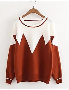 tanie Swetry damskie-damski sweter z długimi rękawami - kolorowy blok