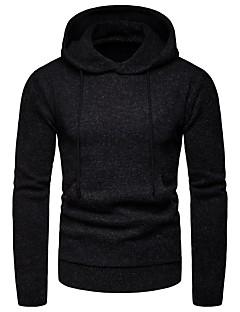 tanie Męskie swetry i swetry rozpinane-Męskie Codzienny Solidne kolory Długi rękaw Krótkie Pulower Czarny / Granatowy / Jasnoszary XL / XXL / XXXL