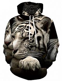 baratos Abrigos e Moletons Masculinos-Homens Activo / Moda de Rua Tamanhos Grandes Solto Calças - 3D Tigre, Estampado Preto / Com Capuz / Manga Longa / Outono / Inverno
