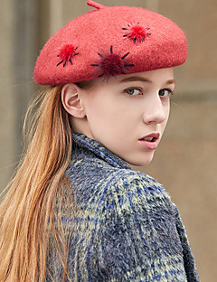 billige Hatter til damer-Dame Vintage / Fest Beanie Hatt / Beret / Bowlerhatter Ensfarget