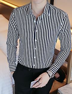 tanie Koszule-bawełniana koszula plus size męska - klasyczny kołnierzyk w prążki