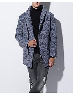 tanie Męskie swetry i swetry rozpinane-Męskie Codzienny Podstawowy Frędzel Solidne kolory Długi rękaw Regularny Sweter rozpinany Niebieski / Ciemnoszary L / XL / XXL