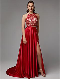 billiga Balklänningar-A-linje Halterneck Hovsläp Spets / Charmeuse Formell kväll Klänning med Rosett(er) / Delad framsida av TS Couture®
