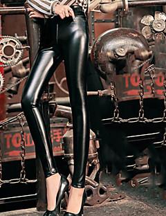 levne Dámské kalhoty-Dámské Základní / Punk & Gothic Větší velikosti Bavlna Kalhoty chinos Kalhoty - Jednobarevné Vysoký pas Černá / Dovolená / Práce / Sexy