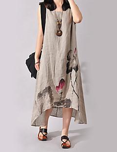 お買い得  スタイルでお買い物-女性用 プラスサイズ アジアン・エスニック コットン ドレス - プリント, フラワー アシメントリー / ルーズ