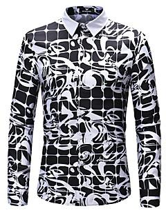 billige Herrers Mode Beklædning-Herre - Farveblok / 3D Trykt mønster Forretning / Basale Skjorte