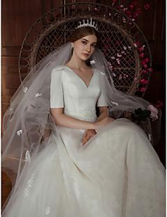 billiga Brudklänningar-Prinsessa V-hals Ankellång Spets / Satäng Bröllopsklänningar tillverkade med Bård / Applikationsbroderi / Spets av LAN TING Express