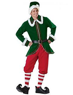 billige julen Kostymer-Nisse drakter Cosplay Kostumer Herre Tenåring Voksne Jul Jul Halloween Karneval Festival / høytid Drakter Grønn Ferie