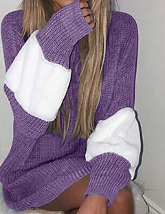 cheap Women's Tops & Sets-Women's Casual / Basic / Knitwear Long Sleeve Pullover - Color Block, Stripe / Oversize