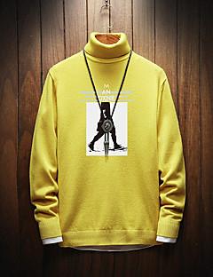 tanie Męskie swetry i swetry rozpinane-Męskie Codzienny Podstawowy Geometric Shape Długi rękaw Puszysta Regularny Pulower, Golf Zima Czerwony / Beżowy / Żółty XXL / XXXL / 4XL