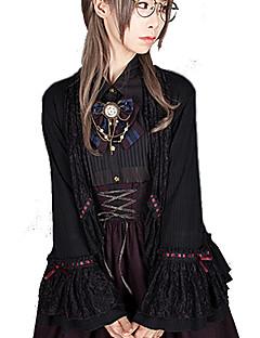 billiga Lolitaklänningar-Söt Lolita Wa Lolita Söt Lolita Klassisk Lolita Dam Cosplay Kostymer / Dräkter Stickat & Cutsew Cosplay Svart Flamma Ärm Långärmad Medium längd Kostymer