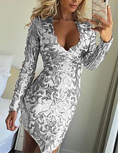 Χαμηλού Κόστους Φορέματα NYE-Γυναικεία Κλαμπ Σέξι Λεπτό Εφαρμοστό Φόρεμα - Μονόχρωμο, Πούλιες Πάνω από το Γόνατο Βαθύ V / Sexy