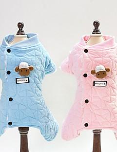 billiga Hundkläder-Hund / Katt Jumpsuits Hundkläder Pläd / Rutig / Toile Blå / Rosa Cotton Kostym För husdjur Unisex Djur / Ljuv