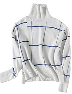 tanie Swetry damskie-Damskie Codzienny Podstawowy Prążki Długi rękaw Regularny Pulower, Golf Biały / Czarny M / L