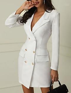 cheap Top Sellers-Women's Daily Elegant Slim Sheath Dress - Solid Colored Deep V White Black M L XL / Sexy