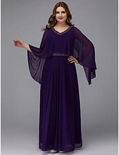 A-Linie V-Ausschnitt Boden-Länge Chiffon Formeller Abend Kleid mit  Perlenstickerei durch TS Couture® 6e91fecb1c