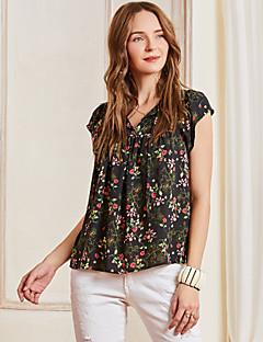 billige Bluse-Dame - Blomstret Trykt mønster Kineseri Bluse