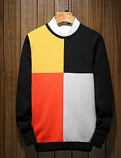 tanie Męskie swetry i swetry rozpinane-Męskie Codzienny Kolorowy blok Długi rękaw Regularny Pulower Zielony / Czarny L / XL / XXL