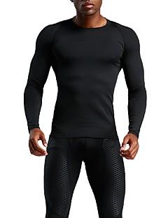 billiga Träning-, jogging- och yogakläder-UABRAV Herr Rund hals T-shirt för jogging / Baslager - Svart sporter Ensfärgat Överdelar Löpning, Fitness, Träna Långärmad Sportkläder Andningsfunktion, Snabb tork, Svettavvisande Elastisk / Vinter
