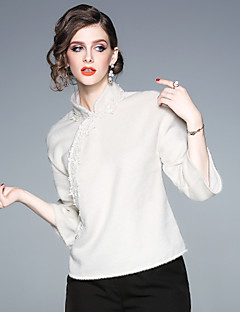 billige Dametopper-Skjorte Dame - Ensfarget Vintage / Chinoiserie