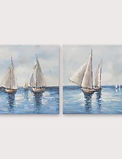 tanie Pejzaże abstrakcyjne-Hang-Malowane obraz olejny Ręcznie malowane - Krajobraz Klasyczny / Nowoczesny Naciągnięte płótka / Rozciągnięte płótno