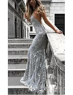 Χαμηλού Κόστους Φορέματα NYE-Γυναικεία Σέξι / Κομψό Λεπτό Παντελόνι - Μονόχρωμο Πούλιες / Open Back / Γκλίτερ Βαθυγάλαζο / Μακρύ / Τιράντες / Sexy