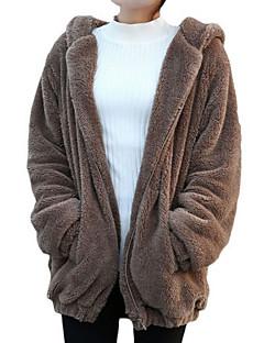 billige Blazere og jakker til damer-Dame Daglig Grunnleggende Normal Jakke, Ensfarget Med hette Langermet Polyester Brun / Hvit / Svart En Størrelse