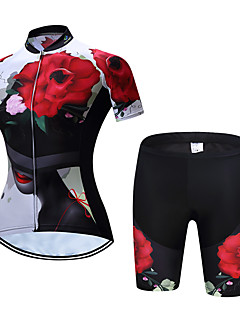 TELEYI Women s Short Sleeve Cycling Jersey with Shorts - Red Floral    Botanical Bike Clothing Suit Quick Dry Sports Polyester Floral   Botanical  Mountain ... bf75eea03