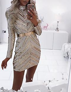 Χαμηλού Κόστους Φορέματα NYE-Γυναικεία Κομψό Λεπτό Παντελόνι - Ριγέ Πούλιες Χρυσό / Πάρτι / Στρογγυλή Ψηλή Λαιμόκοψη