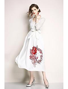 billige Kjoler til spesielle anledninger-A-linje Besmykket Ankellang Blonder Kjole med Belte / bånd av