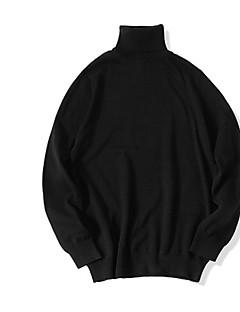 baratos Suéteres de Mulher-Mulheres Diário Básico Sólido Manga Longa Delgado Padrão Pulôver Algodão Cinzento / Vinho / Khaki XL / XXL / XXXL