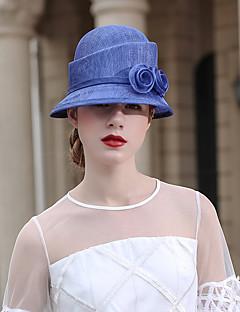 billiga Lolitamode-Den underbara fru Maisel Cloche Hat hatt damer Retro / vintage Dam Blå Blomma Keps Chiffong Kostymer