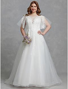 billiga Plusstorlek brudklänningar-A-linje Prydd med juveler Svepsläp Tyll Bröllopsklänningar tillverkade med Spets av LAN TING BRIDE® / Vacker i svart